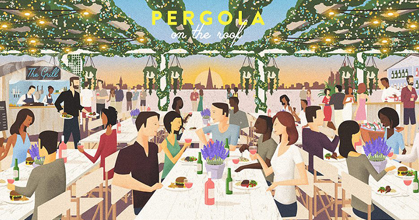 Pergola on the roof - illustration