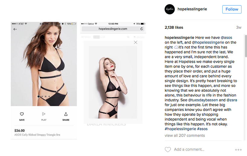 Fast Fashion - Hopeless Lingerie Instagram post