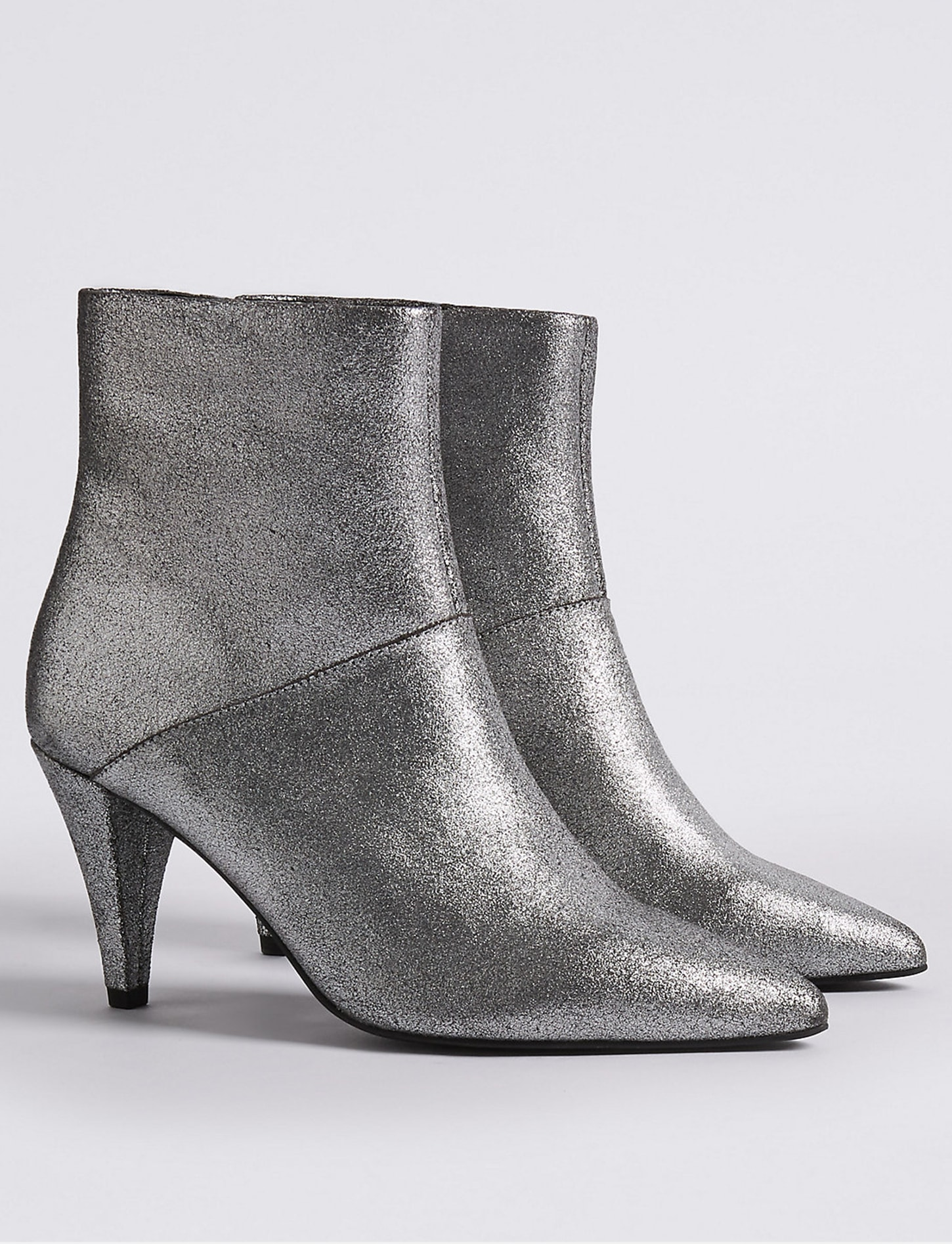M&S leather silver boots