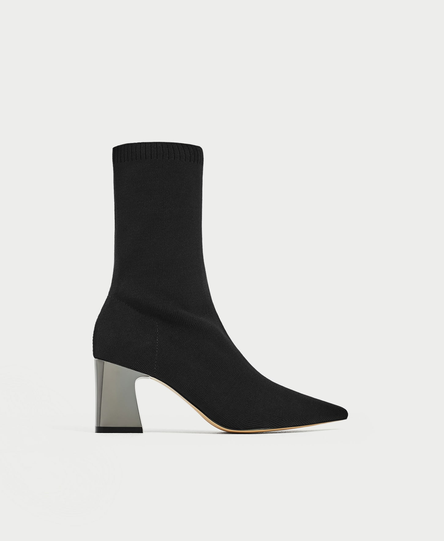 stretch fabric high heel boots zara
